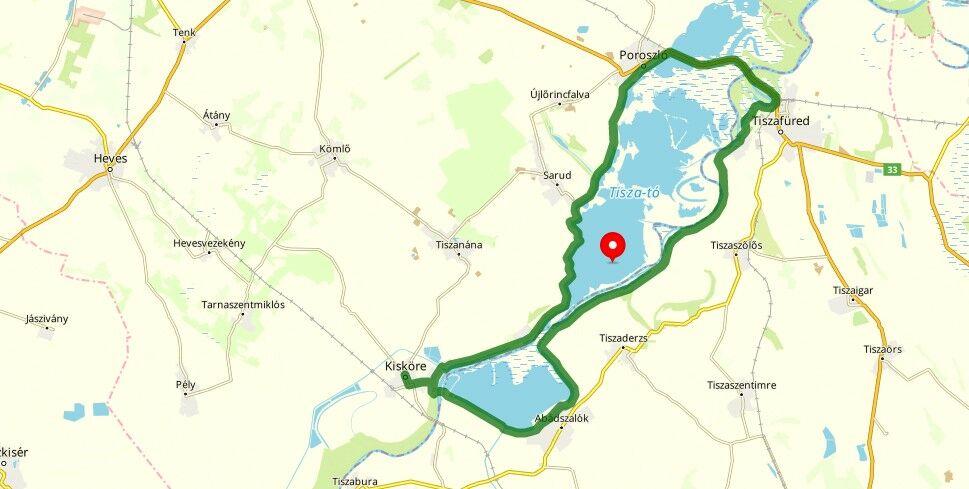 Tisza-tó biciklis kör útvonal