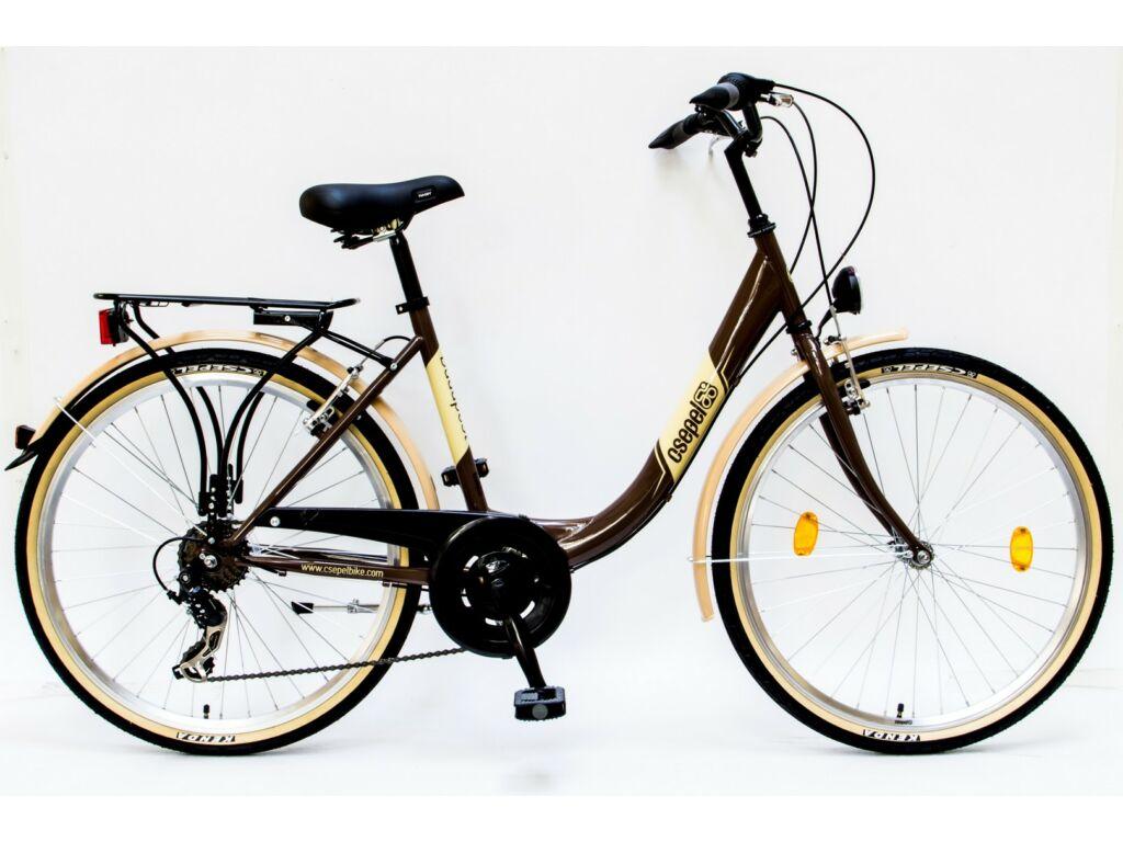 """CSEPEL BUDAPEST B 26/18"""" 7SP 16 városi kerékpár, barna"""