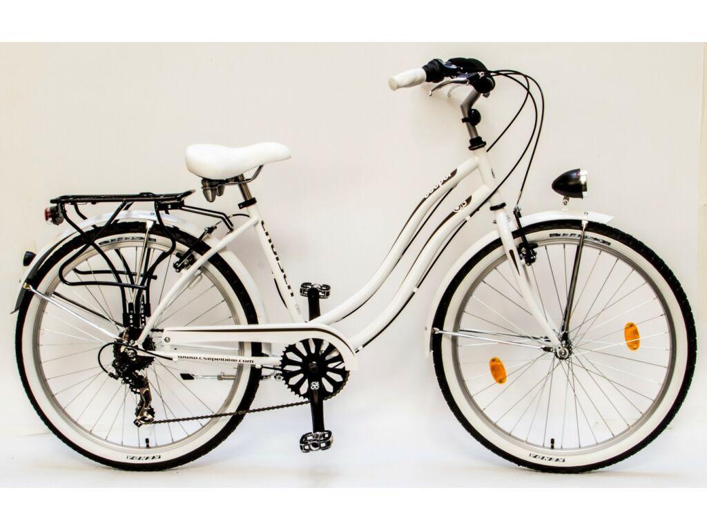 """CSEPEL CRUISER 26/18"""" NEO NÖI 7SP 16 női városi kerékpár, fehér"""