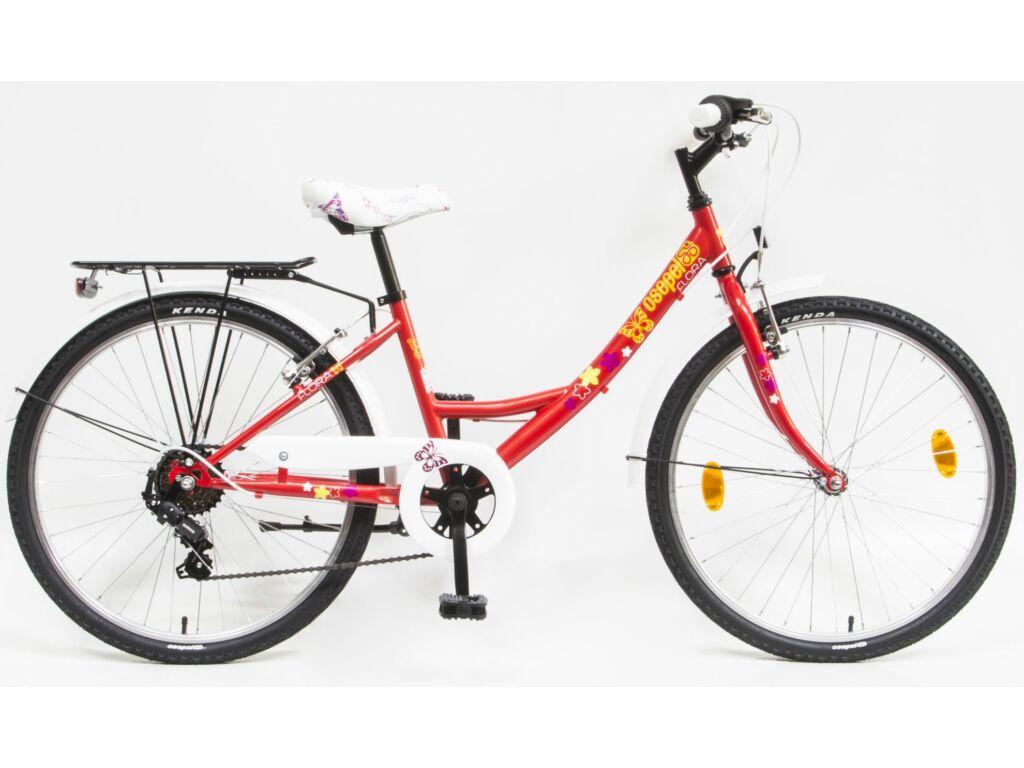 CSEPEL Flóra 24 col 6SP 20 gyerek kerékpár - piros / pillangós