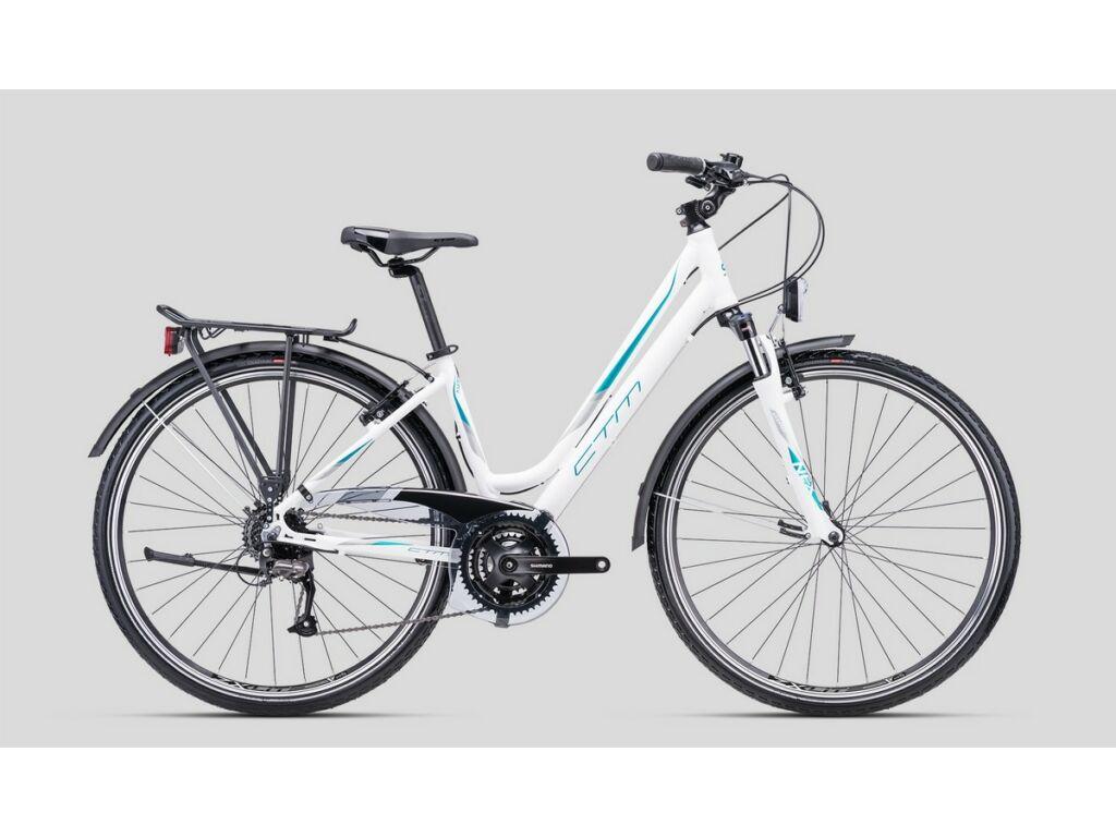 """CTM Amber 1.0 28"""" női városi kerékpár, matt fehér / türkíz"""