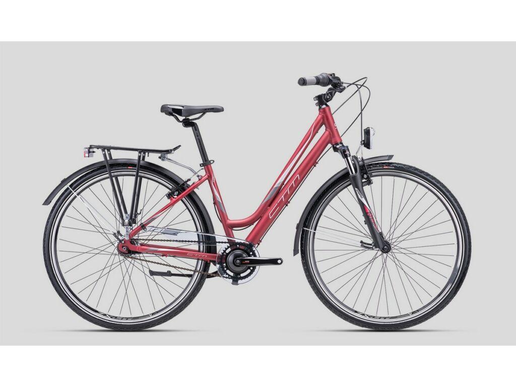 """CTM Amber 2.0 28"""" női városi kerékpár, matt burgundy / ezüst"""
