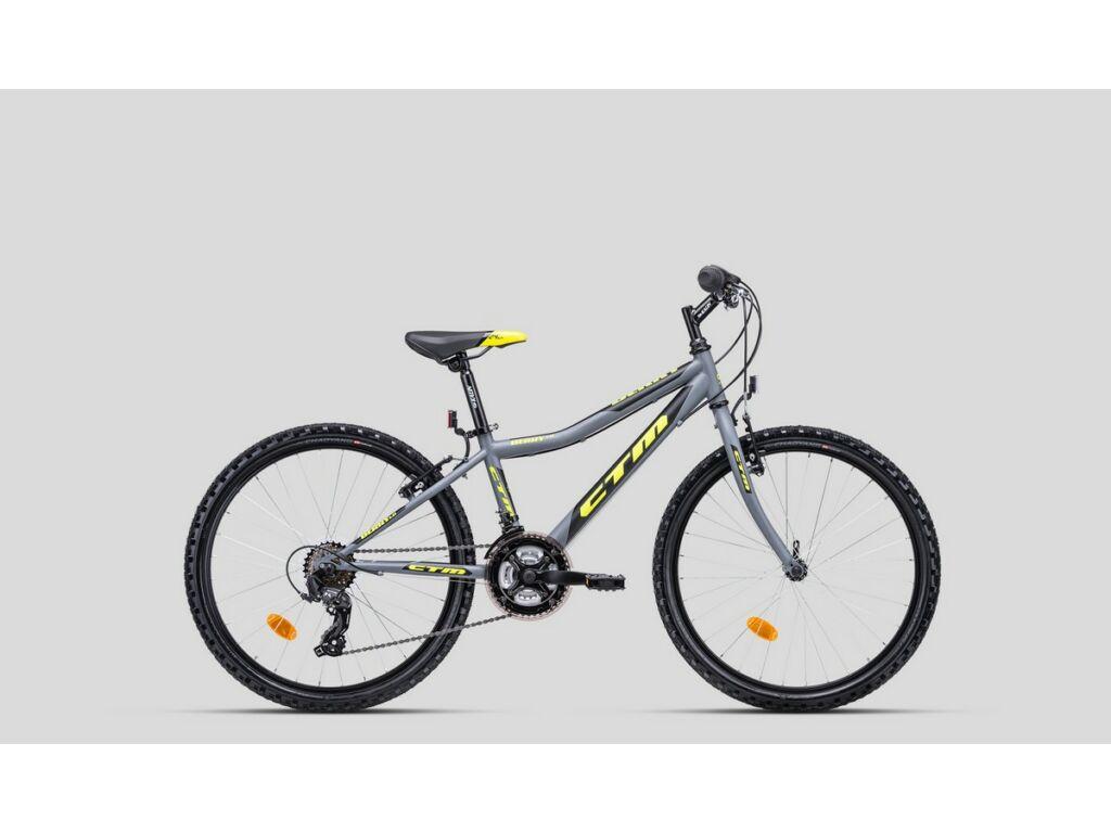 """CTM Berry 1.0 24"""" fiú gyermekkerékpár, matt szürke / sárga"""