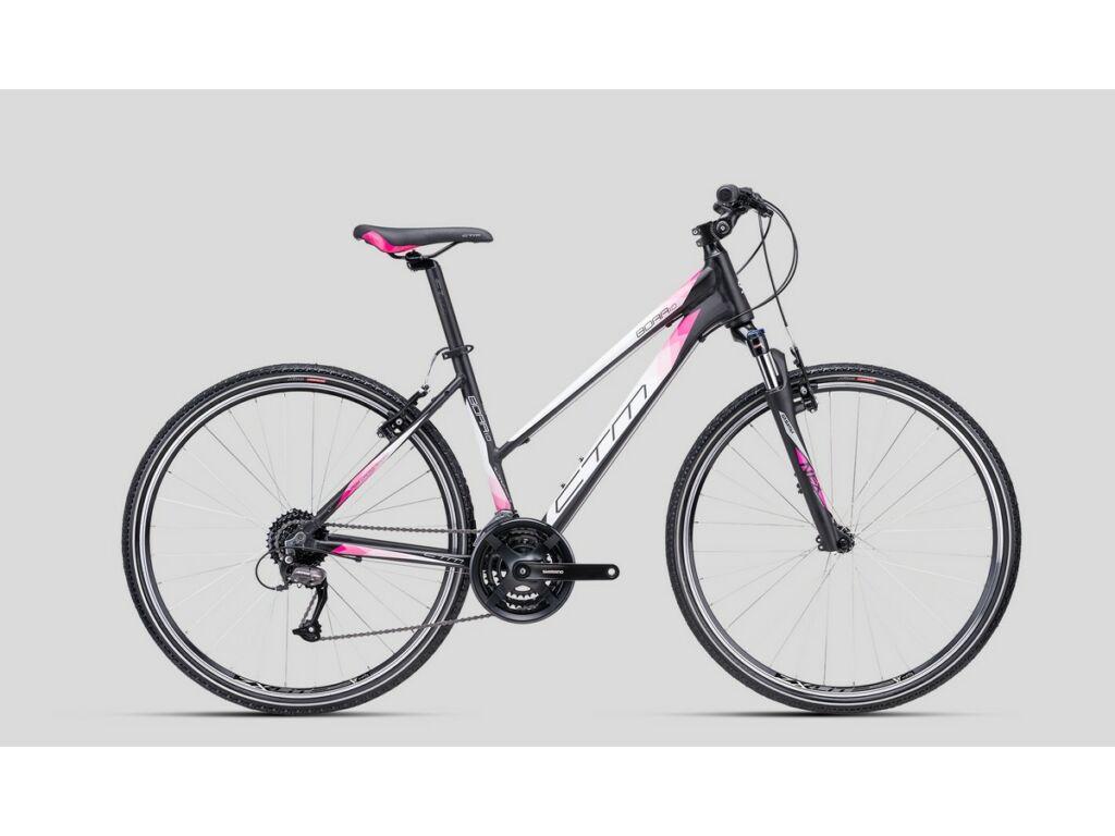 """CTM Bora 1.0 28"""" női cross kerékpár, matt fekete / fehér / pink"""