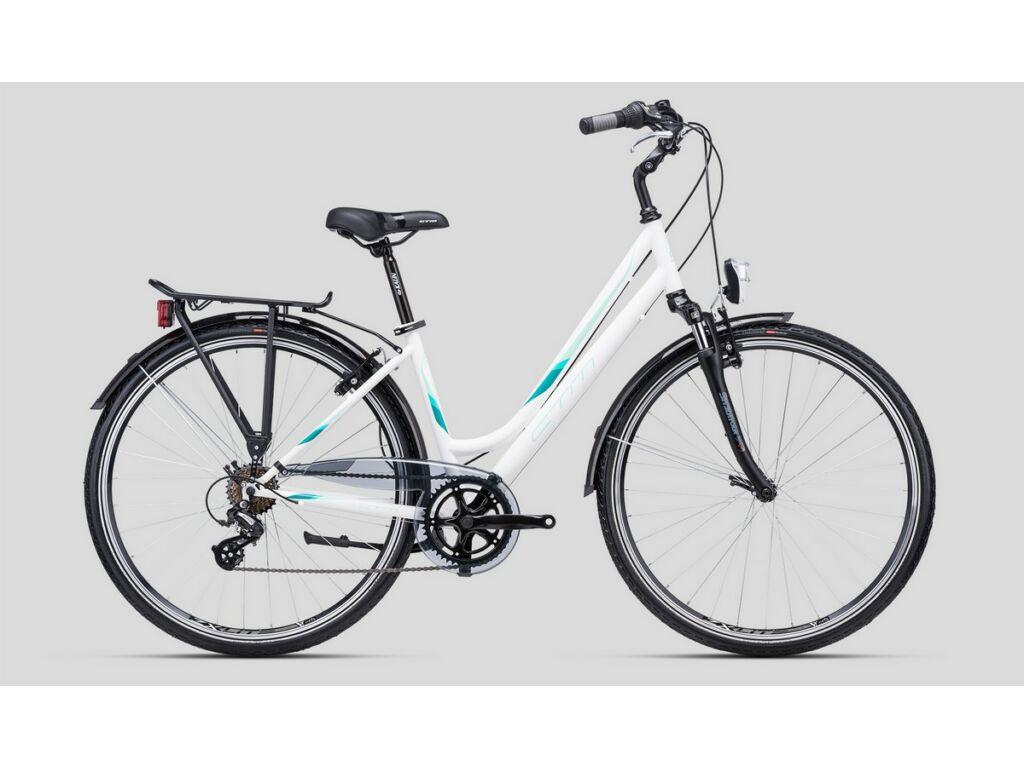 """CTM Florence 28"""" női városi kerékpár, matt fehér / menta"""