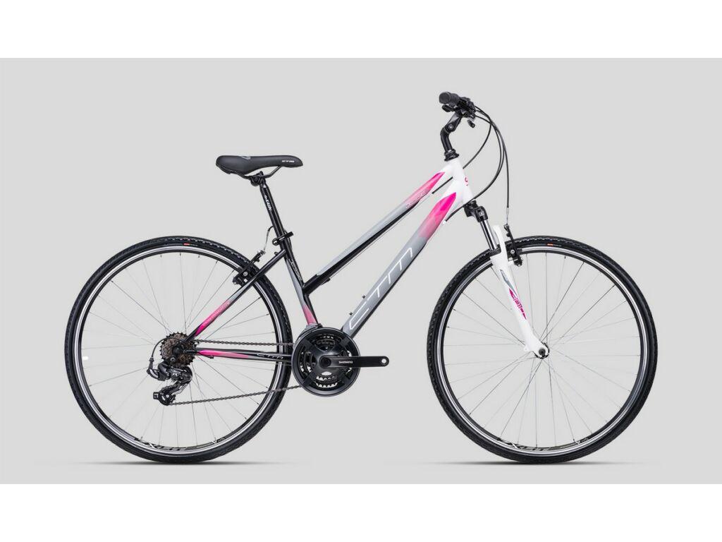 """CTM Jessie 28"""" női cross kerékpár, matt fekete / szürke / pink"""