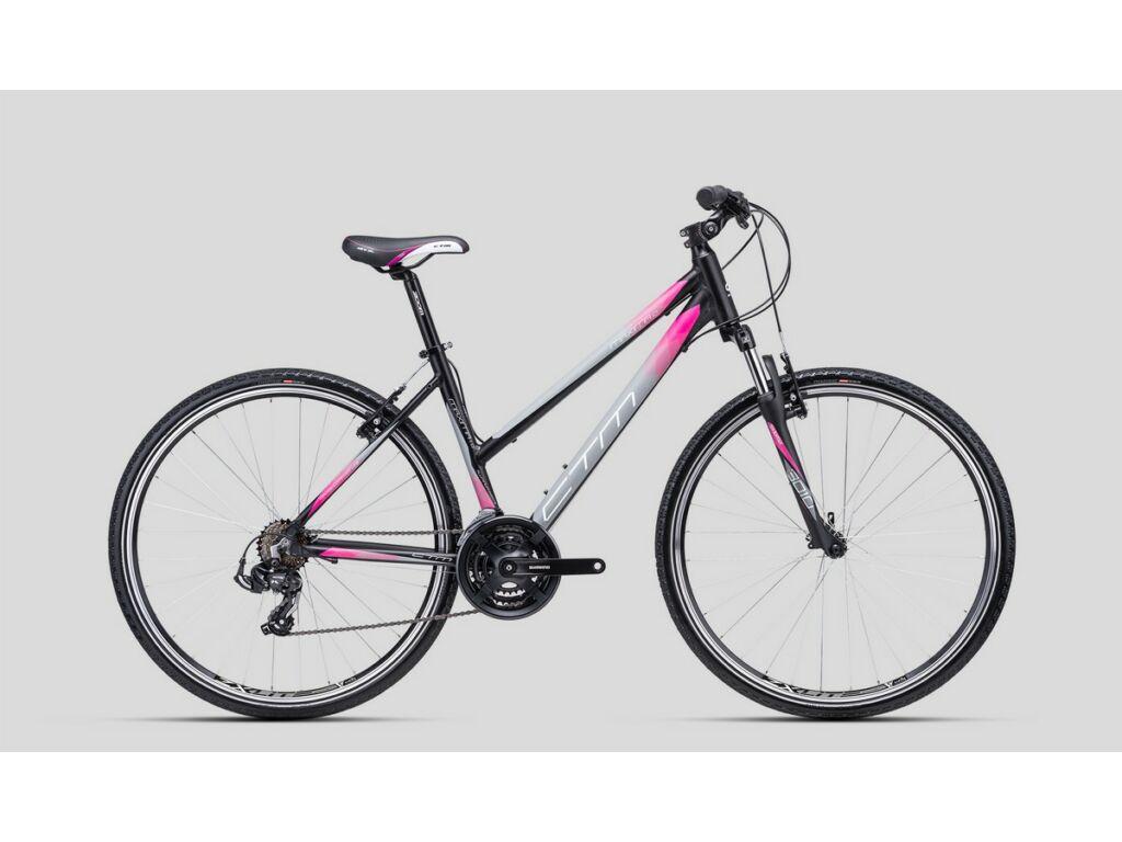 """CTM Maxima 1.0 28"""" női cross kerékpár, matt fekete / szürke / pink"""