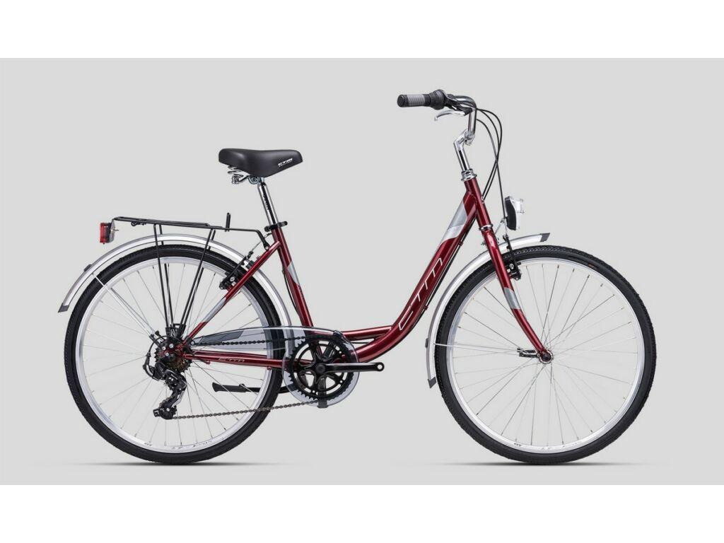 """CTM Olivia 2.0 26"""" női városi kerékpár, gyöngyház burgundy / ezüst"""
