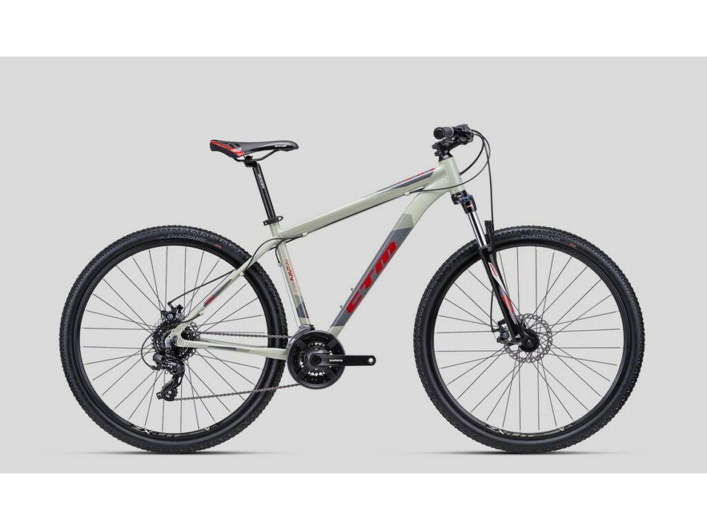 """CTM Rein 2.0 29"""" MTB kerékpár, világosszürke / szürke / piros"""