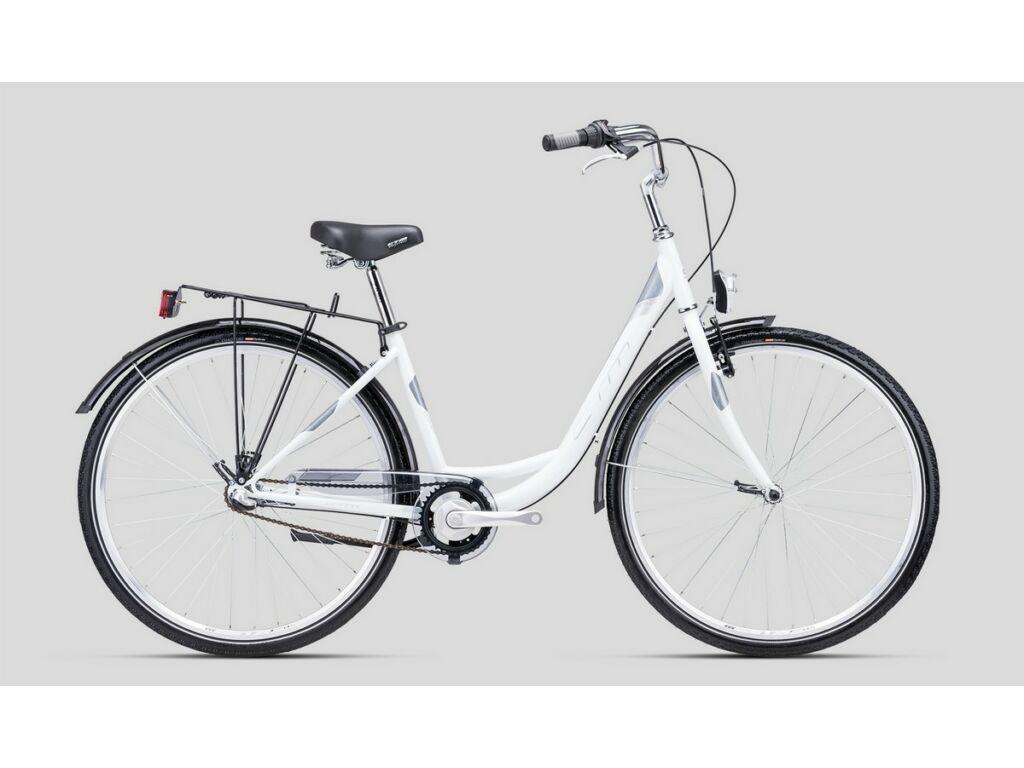 """CTM Rita 2.0 28"""" női városi kerékpár, gyöngyház fehér / szürke / kék"""