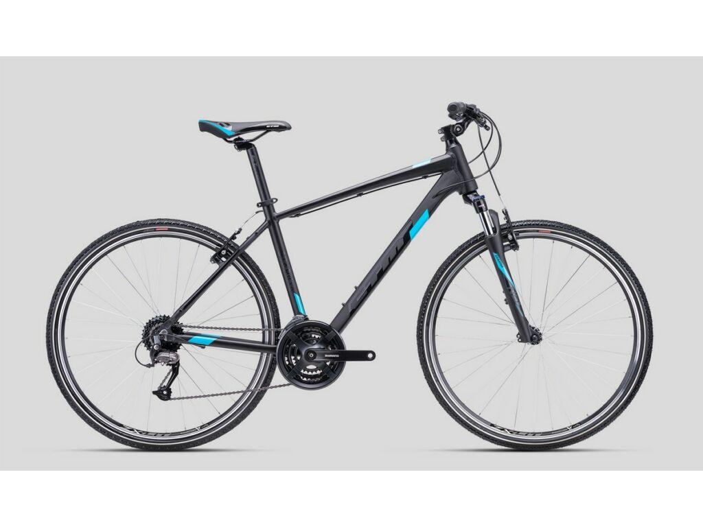 """CTM Stark 1.0 28"""" cross trekking kerékpár, matt fekete / fényes világoskék"""