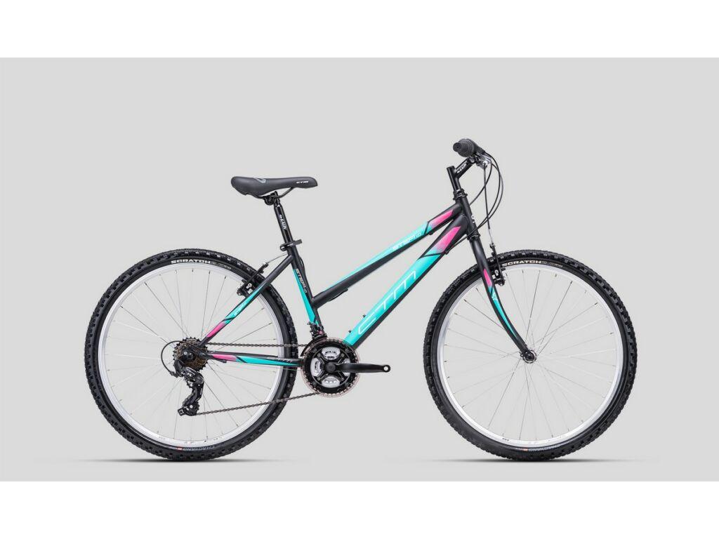 """CTM Stefi 1.0 26"""" női MTB kerékpár, matt fekete / türkíz"""