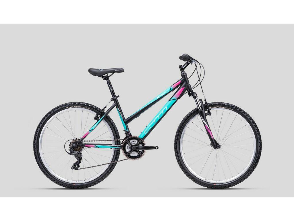 """CTM Stefi 2.0 26"""" női MTB kerékpár, matt fekete / türkíz"""