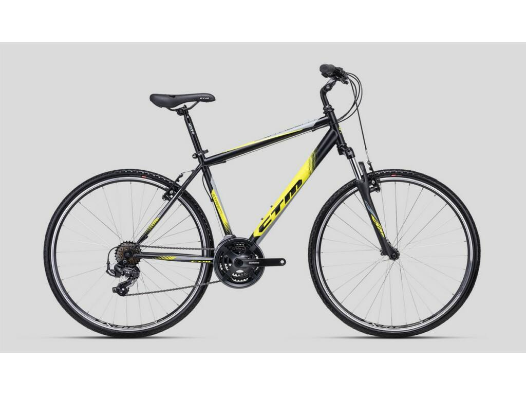"CTM Streem 28"" cross trekking kerékpár, matt fekete / sárga"