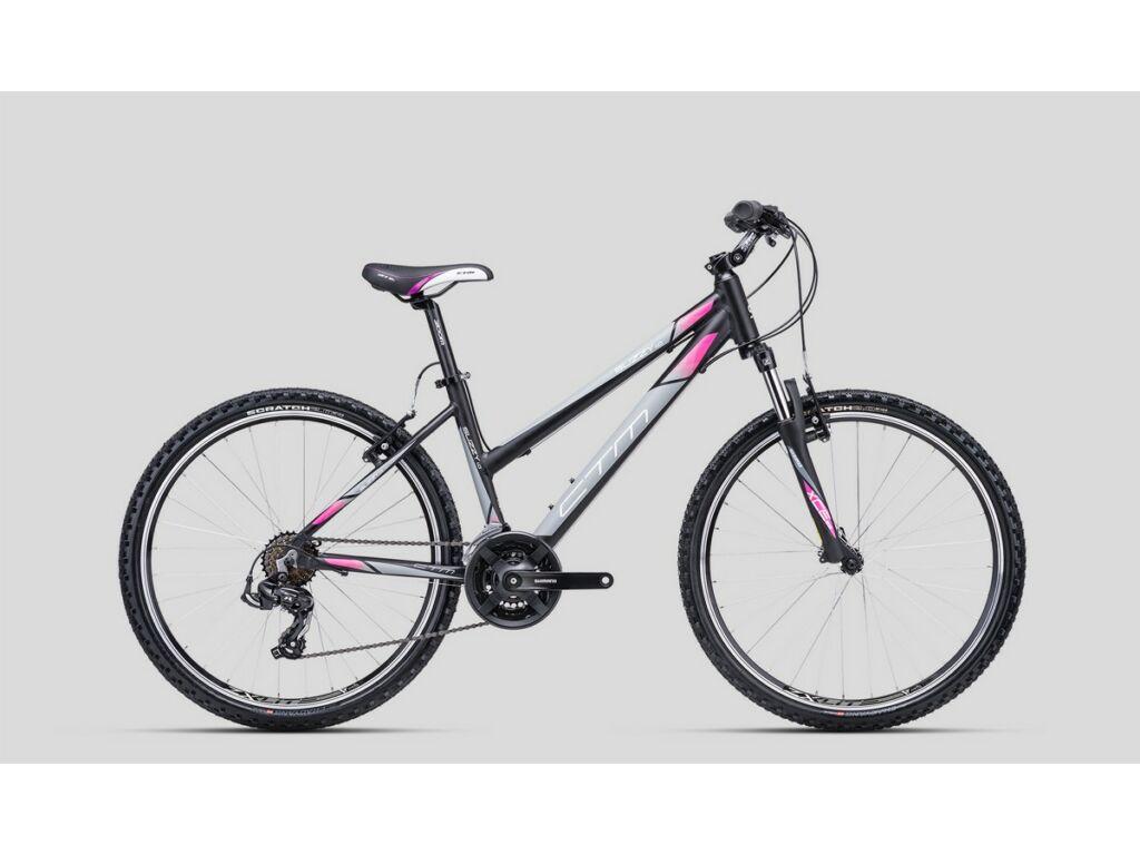 """CTM Suzzy 1.0 26"""" női MTB kerékpár, matt fekete / szürke / pink"""