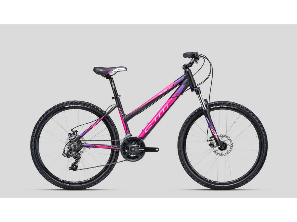 """CTM Suzzy 2.0 26"""" női MTB kerékpár, matt fekete / pink / lila"""