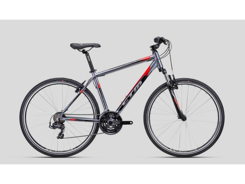 "CTM Tranz 1.0 28"" cross trekking kerékpár, szürke / piros"