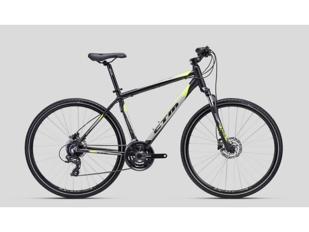 "CTM Tranz 3.0 28"" cross trekking kerékpár, matt fekete / szürke / lime"