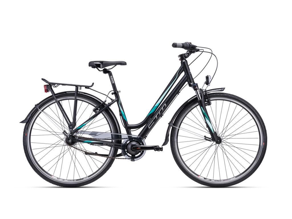 CTM AMBER 2.0 női trekking kerékpár, matt fekete / türkiz