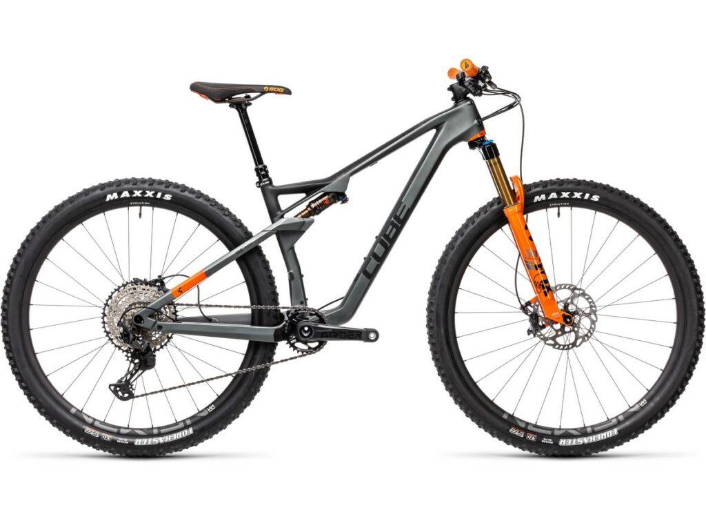 """Cube AMS 100 C:68 TM 29 2021 29"""" MTB fully kerékpár, flashgrey'n'orange"""