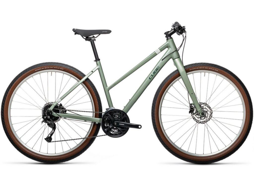 """CUBE Hyde 2021 Trapeze 29"""" női fitness kerékpár, green'n'grey"""