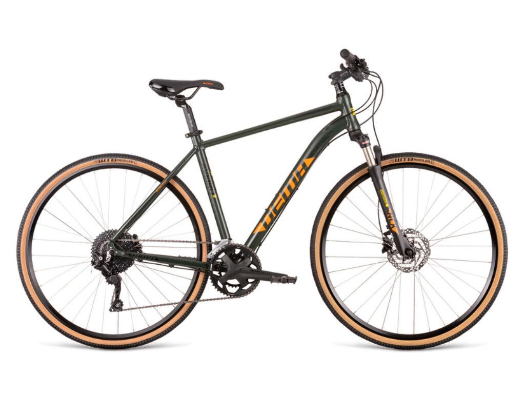 Dema AVEIRO női cross kerékpár, sötétzöld / narancs