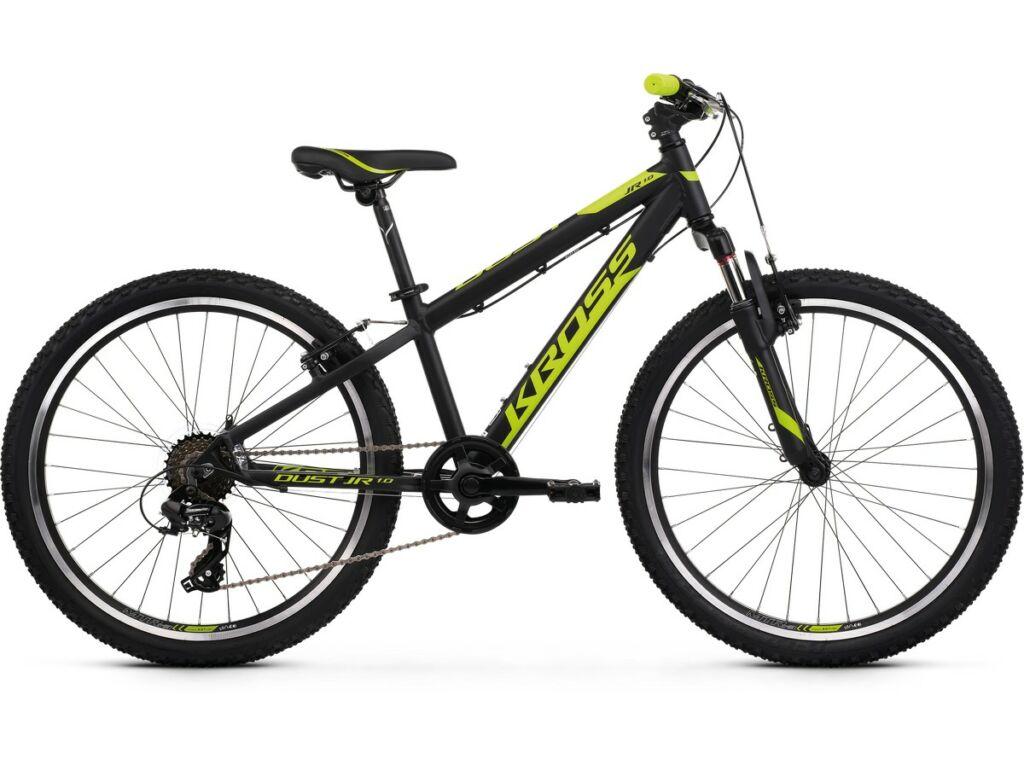 """KROSS Dust JR 1.0 2020 24"""" MTB Trail gyermekkerékpár, black / lime"""