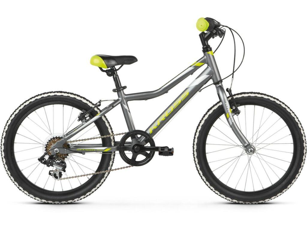 "KROSS Hexagon Mini 1.0 2020 / 2021 20"" MTB gyermekkerékpár, graphite / lime / silver"