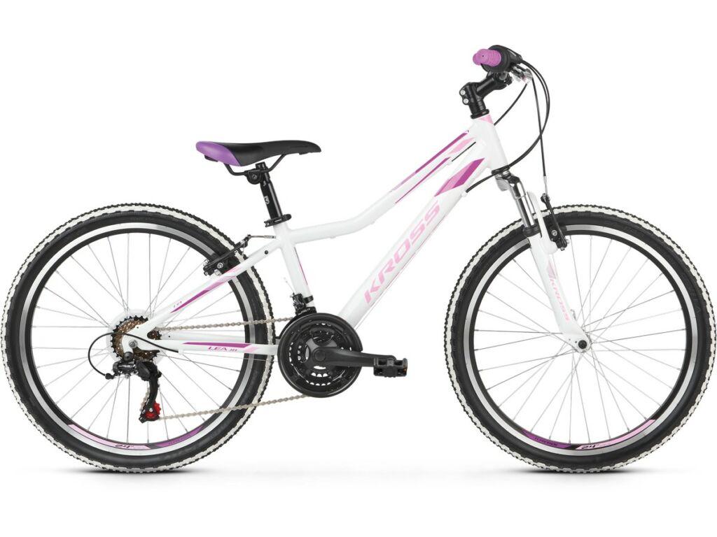 """KROSS Lea JR 1.0 2020 / 2021 24"""" MTB lány gyermekkerékpár, white / pink / violet"""