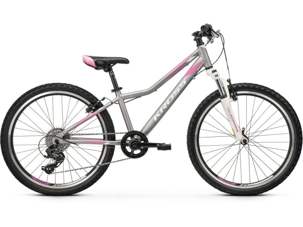 """KROSS Lea JR 2.0 2020 / 2021 24"""" MTB lány gyermekkerékpár, silver / pink / white"""