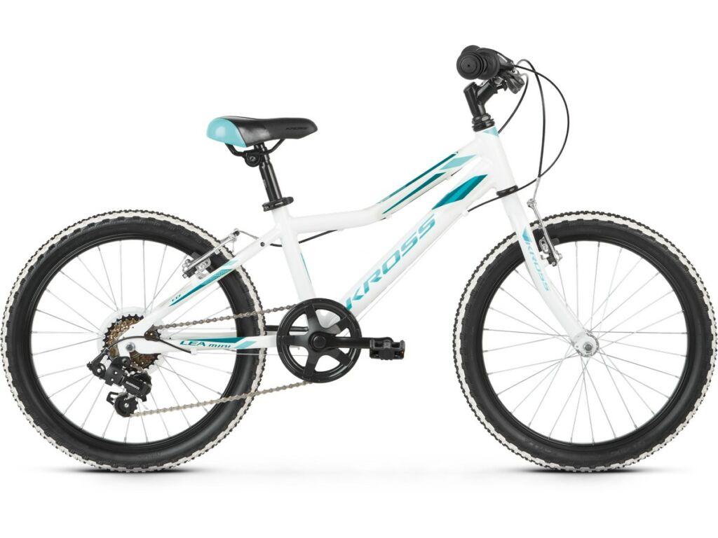 """KROSS Lea Mini 1.0 2020 20"""" lány MTB gyermekkerékpár, white / turquoise"""