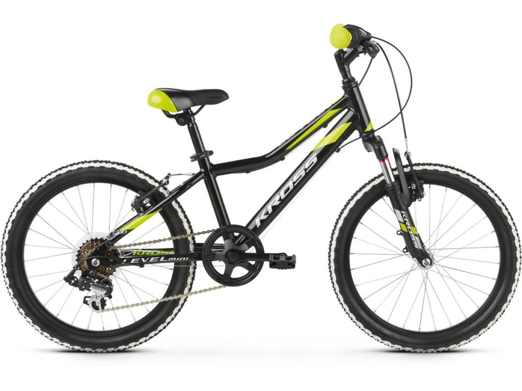 """KROSS Level Mini 2.0 2020/2021 20"""" fiú MTB gyermekkerékpár, black / lime / silver"""