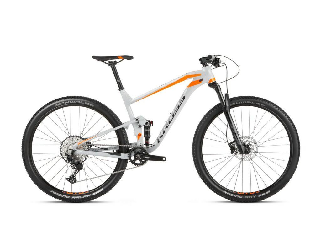 "KROSS Earth 2.0 2021 29"" MTB XC fully kerékpár, grey / orange glossy"
