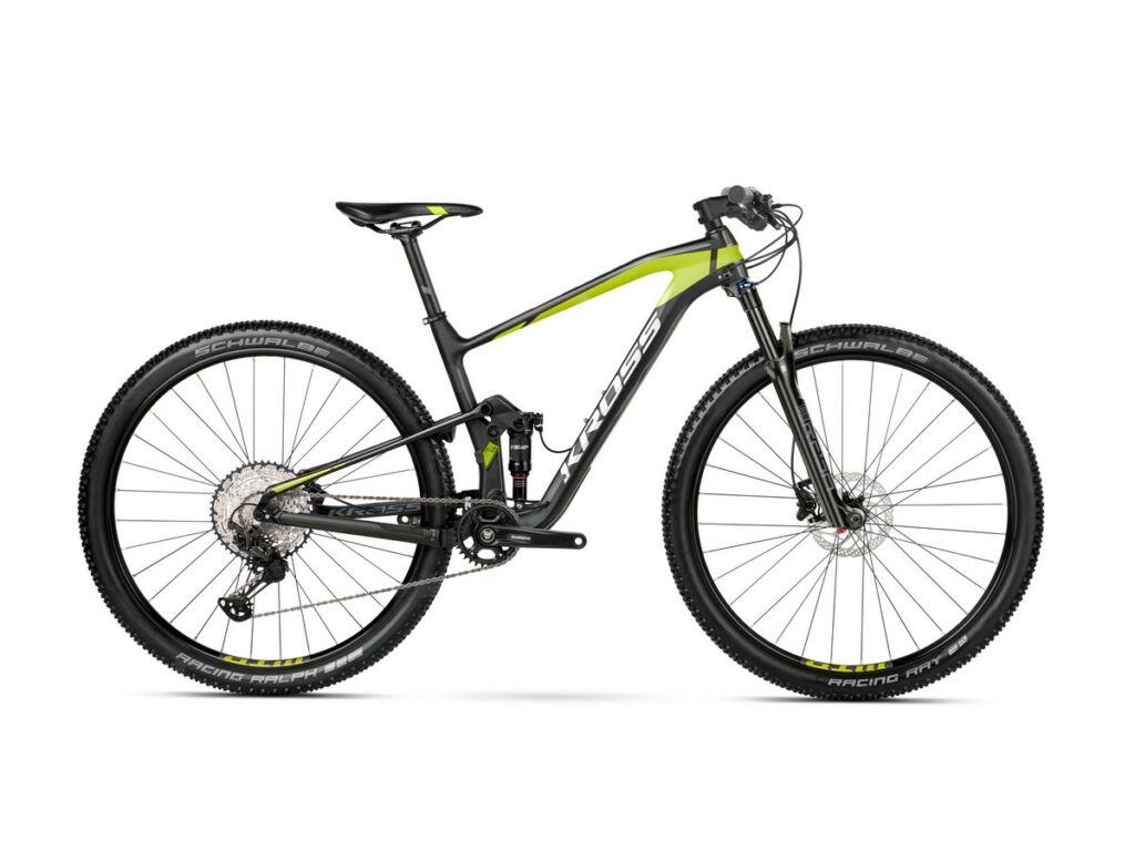 """KROSS Earth 3.0 2021 29"""" MTB XC fully kerékpár, black / lime / silver matt"""