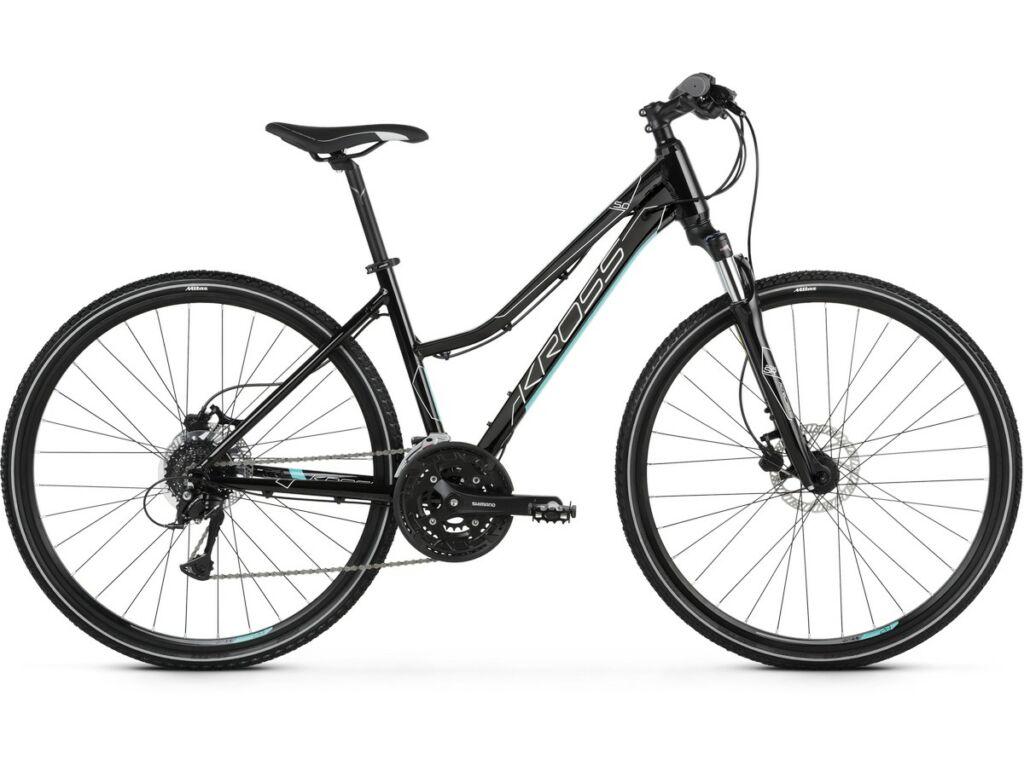 """KROSS Evado 5.0 D 2021 28"""" női cross kerékpár, black / turquoise"""