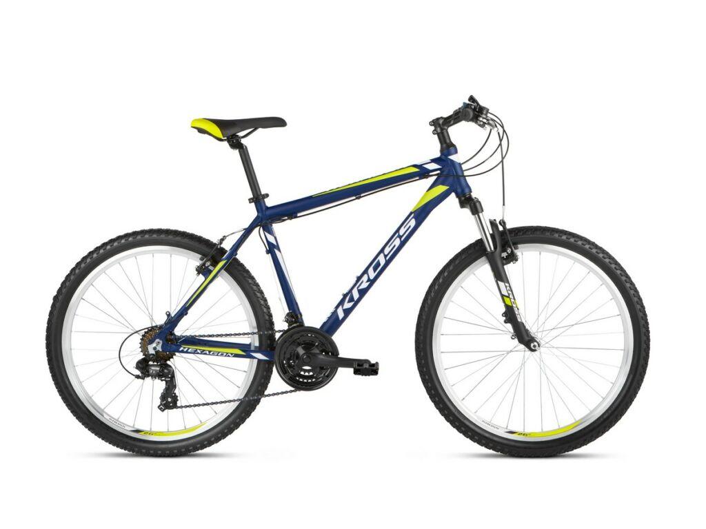 """KROSS Hexagon 2021 26"""" MTB kerékpár, navy blue / white / lime"""