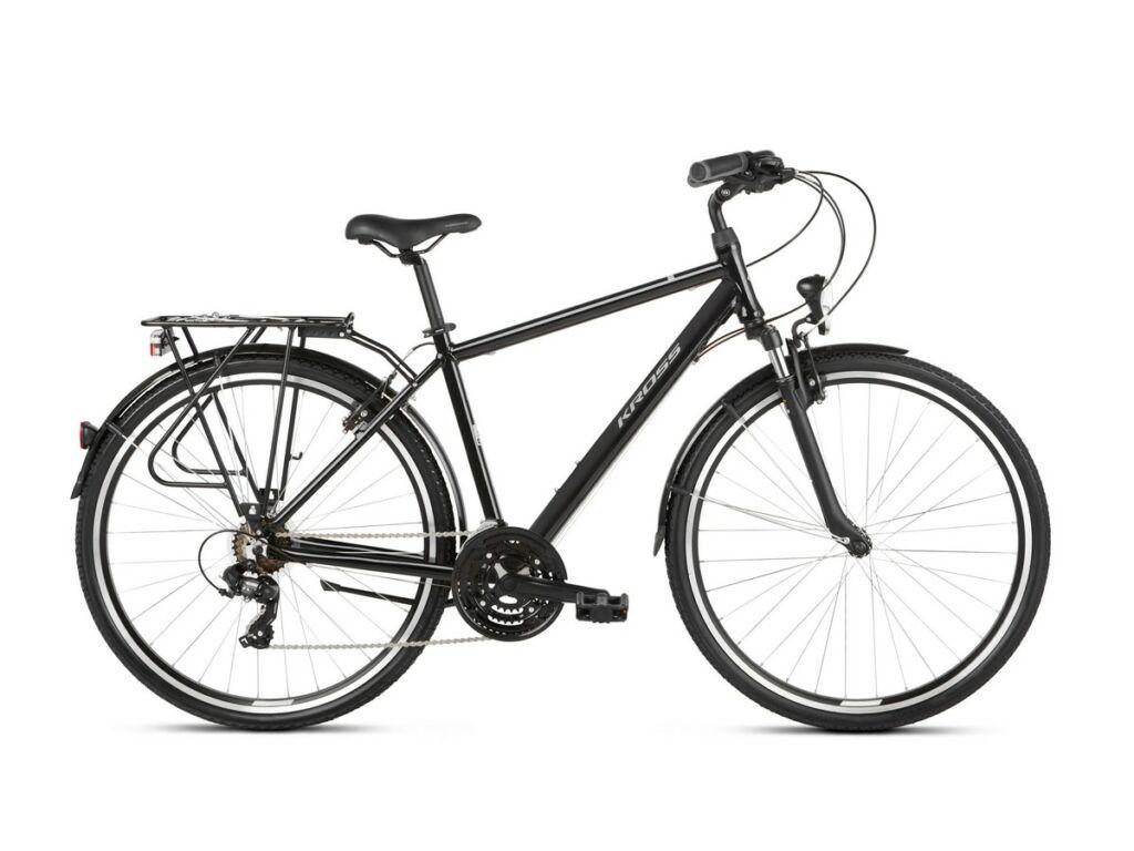 """KROSS Trans 1.0 M 2021 28"""" férfi trekking kerékpár, black / grey"""