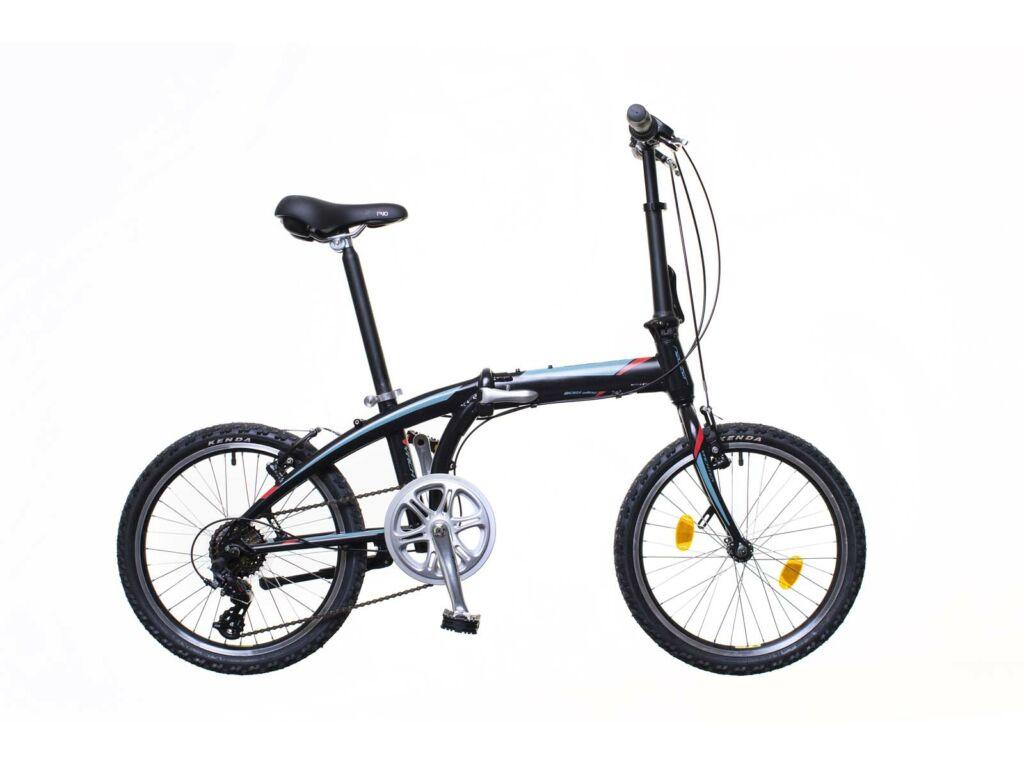 NEUZER Folding Yachter városi összecsukható kerékpár, fekete / türkiz-piros
