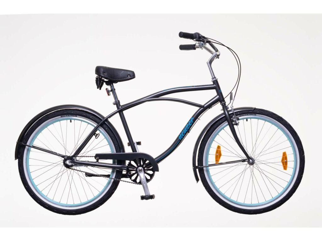 NEUZER Picnic férfi városi / cruiser kerékpár, grafitszürke/kék