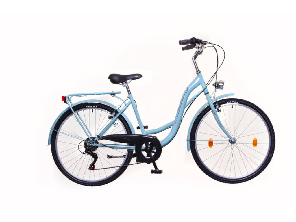 NEUZER Venezia 6 női városi kerékpár, celeste / piros-zöld