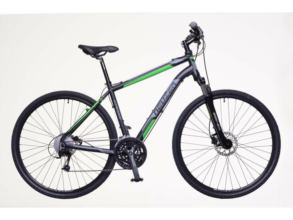 NEUZER X400 férfi cross kerékpár, fekete / zöld-szürke