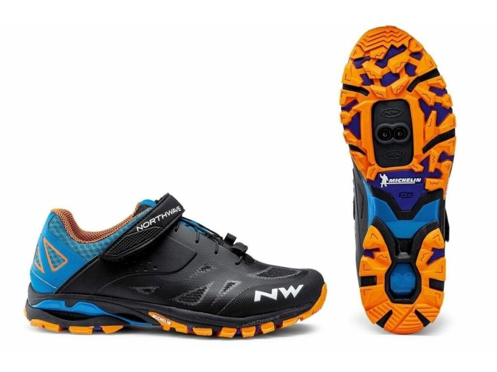 NORTHWAVE All Terrain Spider 2 kerékpáros cipő, fekete/kék/narancs, 42