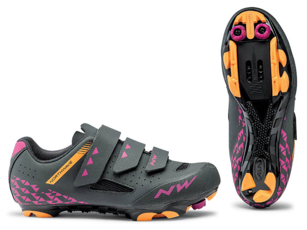 NORTHWAVE MTB Origin WMN női kerékpáros cipő, antracit/fukszia/narancs