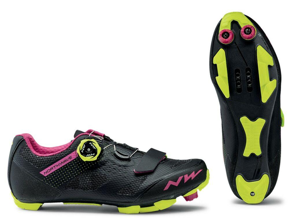 NORTHWAVE MTB Razer WMN női kerékpáros cipő, fekete-fukszia-sárga