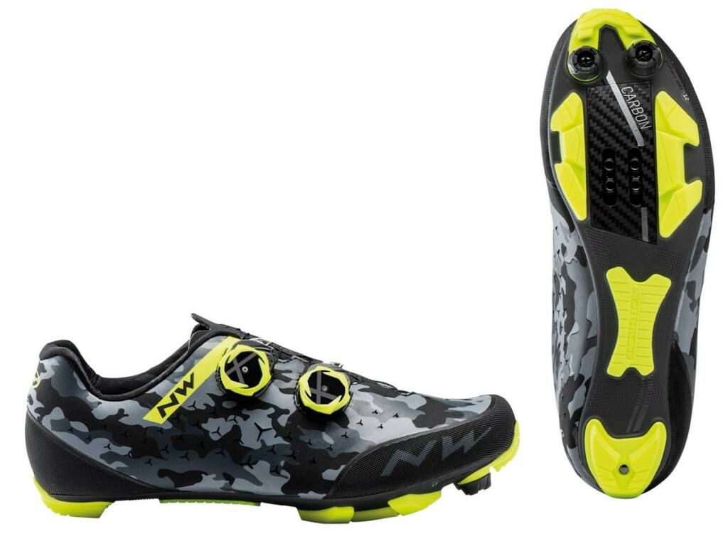 NORTHWAVE MTB Rebel 2 kerékpáros cipő / camo fekete/fluo sárga