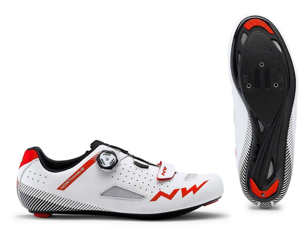 NORTHWAVE Road Core Plus kerékpáros cipő, fehér-piros