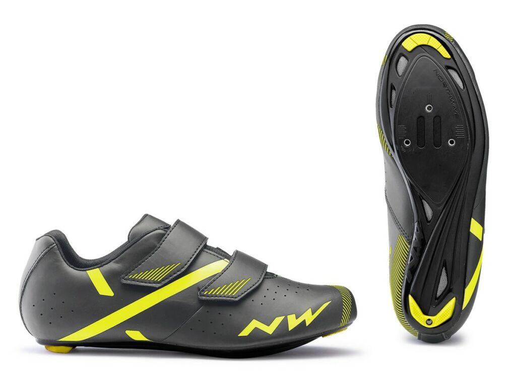 NORTHWAVE Road Jet 2 kerékpáros országúti cipő, szürke/fluo sárga